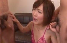 Japanese MILF works with 2 cocks