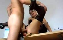 Teacher in glasses fucks with lucky dude