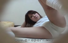 Japanese girl teasing in white panties