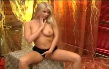 Blonde rubs pussy in her panties